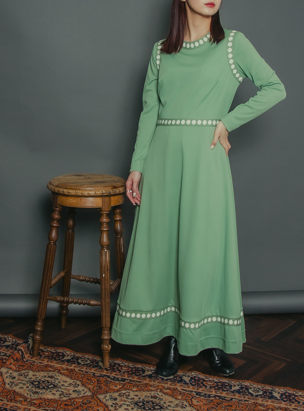 1970's Light Green Design Dress