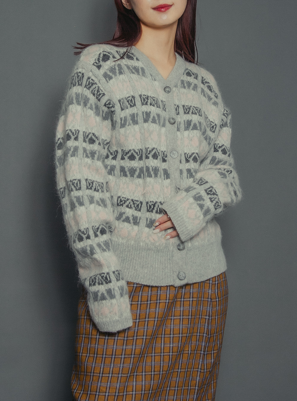 Gray Border Nordic Design Knit