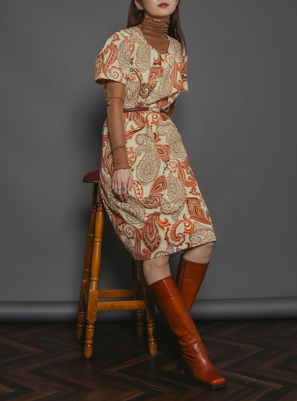1970's Orange Paisley Print Dress