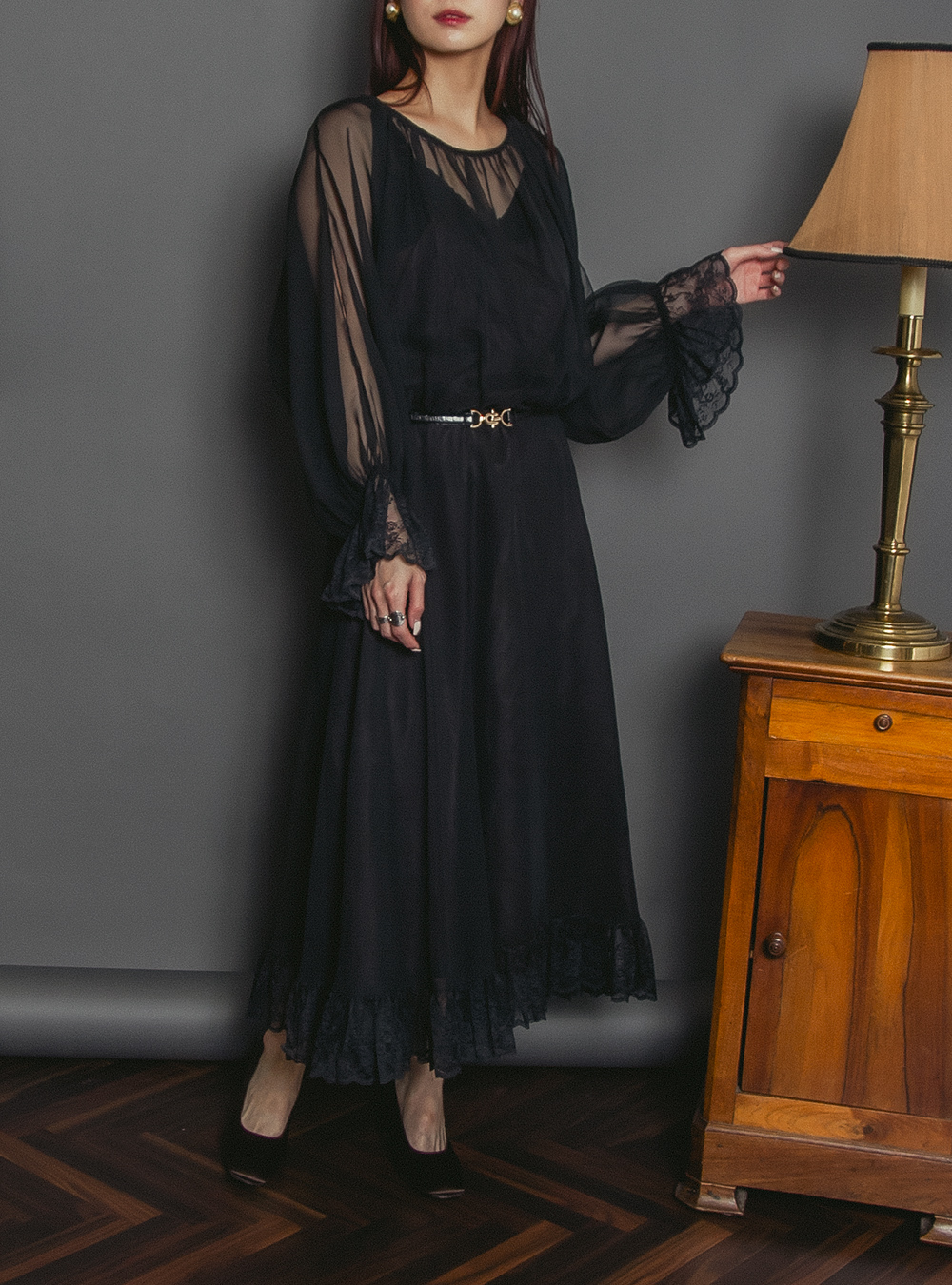 1970's Sheer Sleeve Black Dress