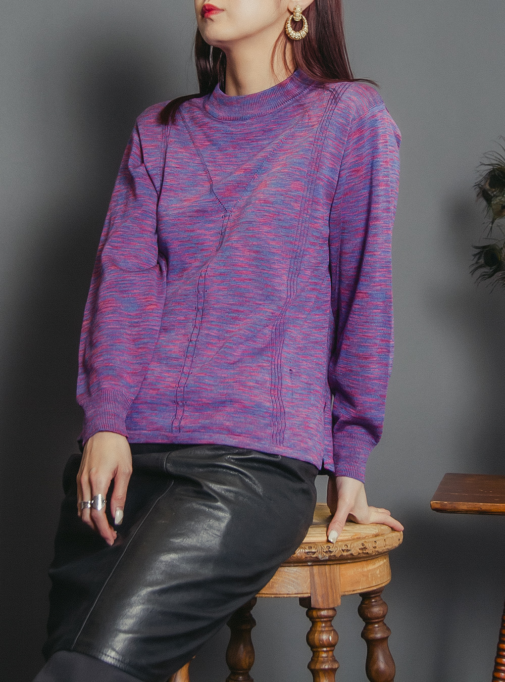 Purple Color Design Knit
