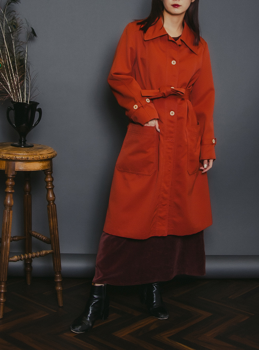 1970's Blood Orange Trench Coat