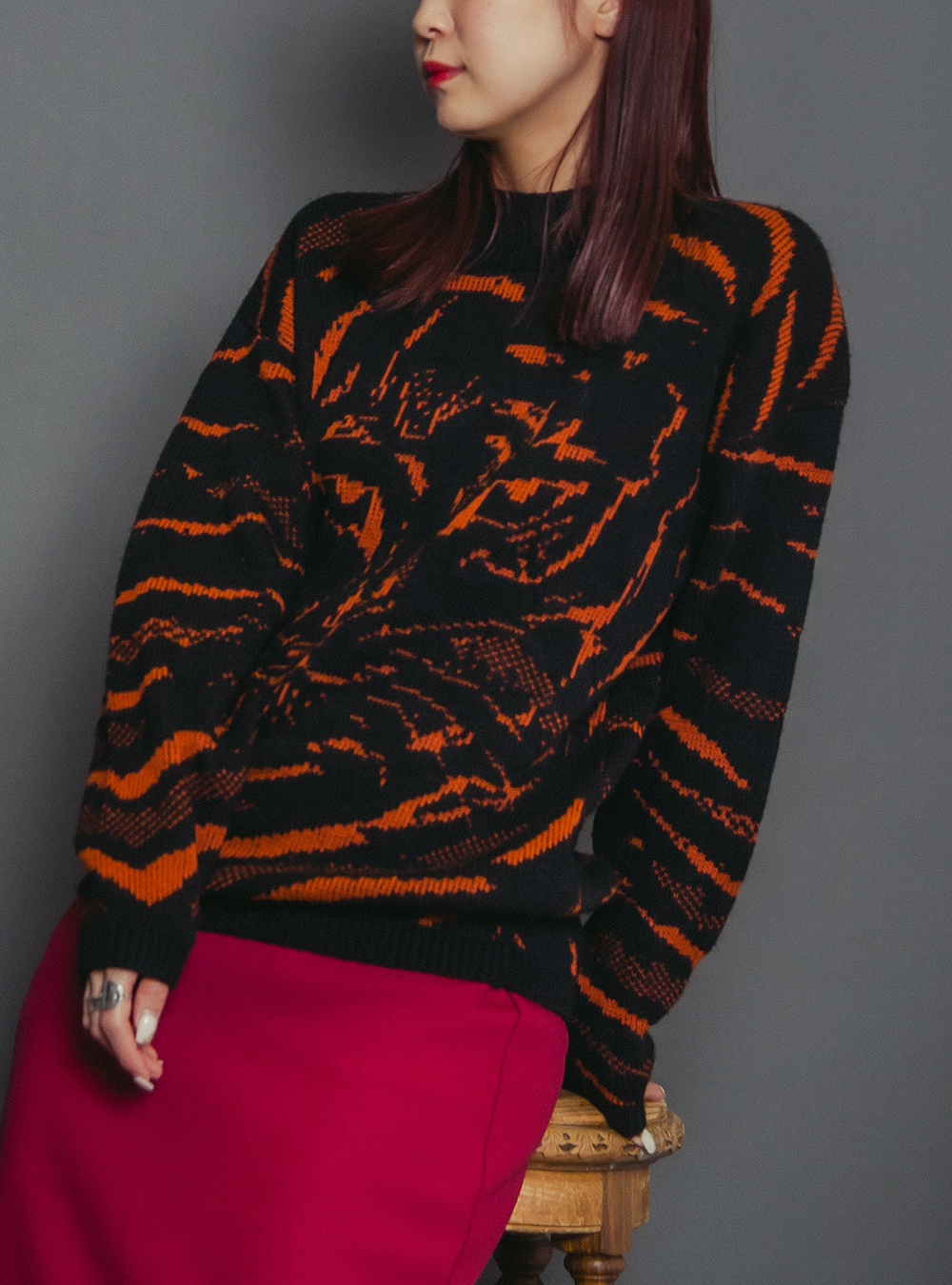 Black Tiger Design Knit