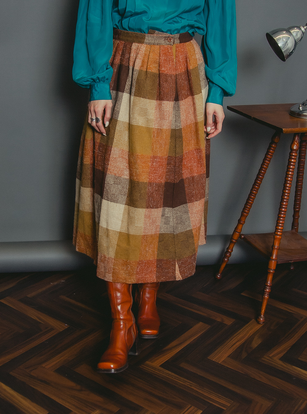 Orange Brown Check Wool Skirt