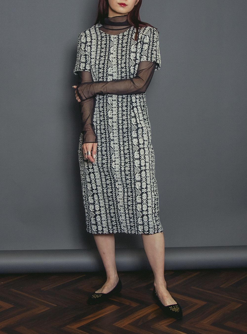1950's Monotone Ethnic Embroidery Dress