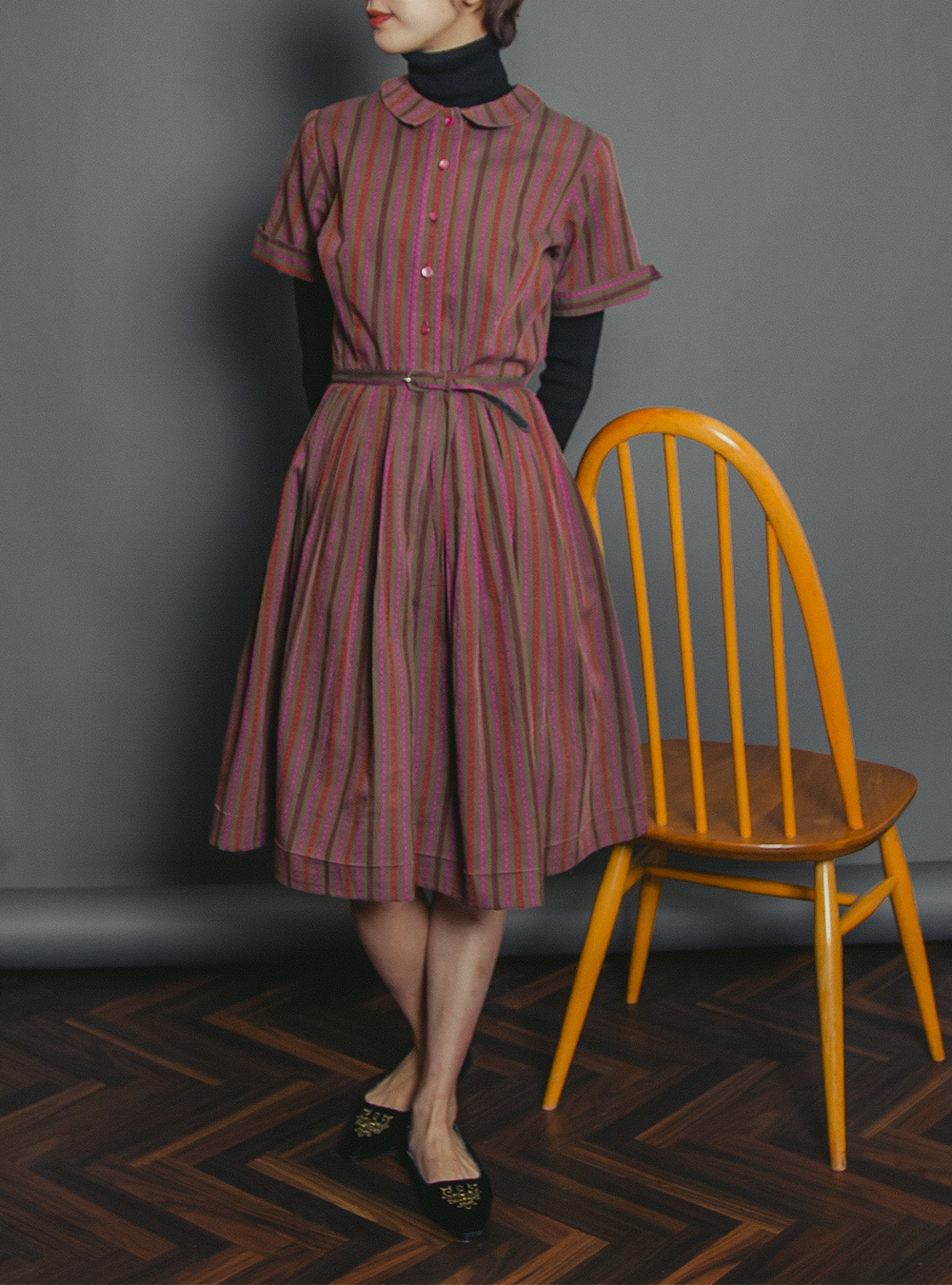 1950's Multicolor Stripe Design Dress