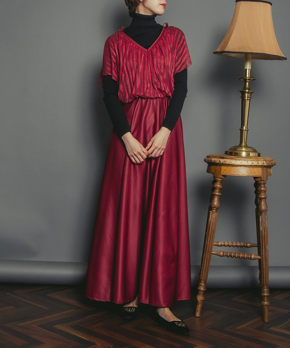 1970's Wine Red Flare Design Long Dress