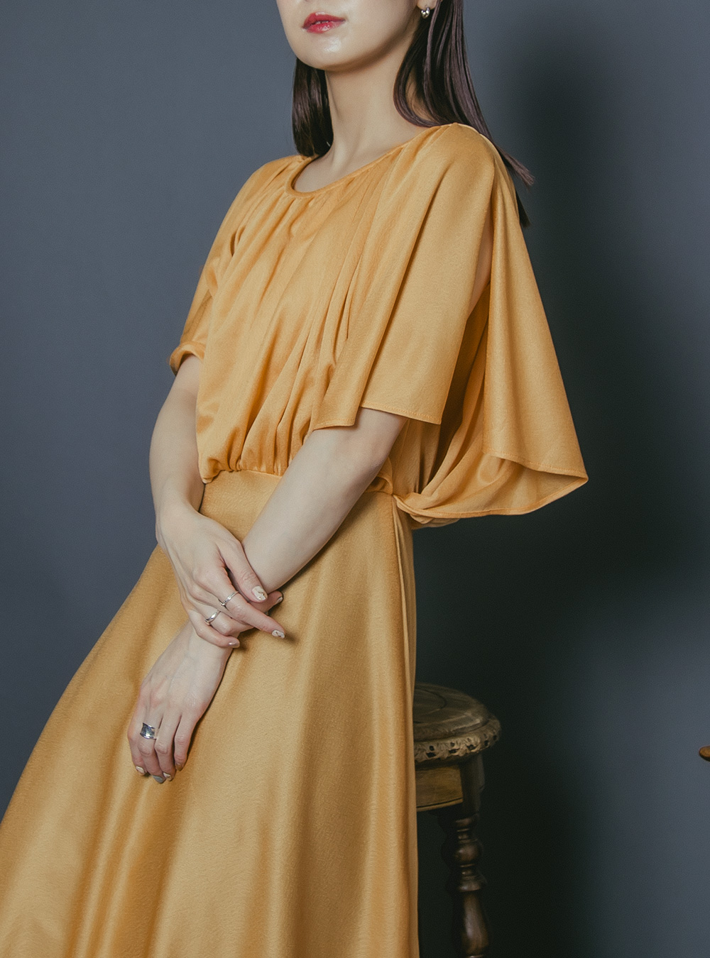 1970's Mustard Yellow Flare Design Dress