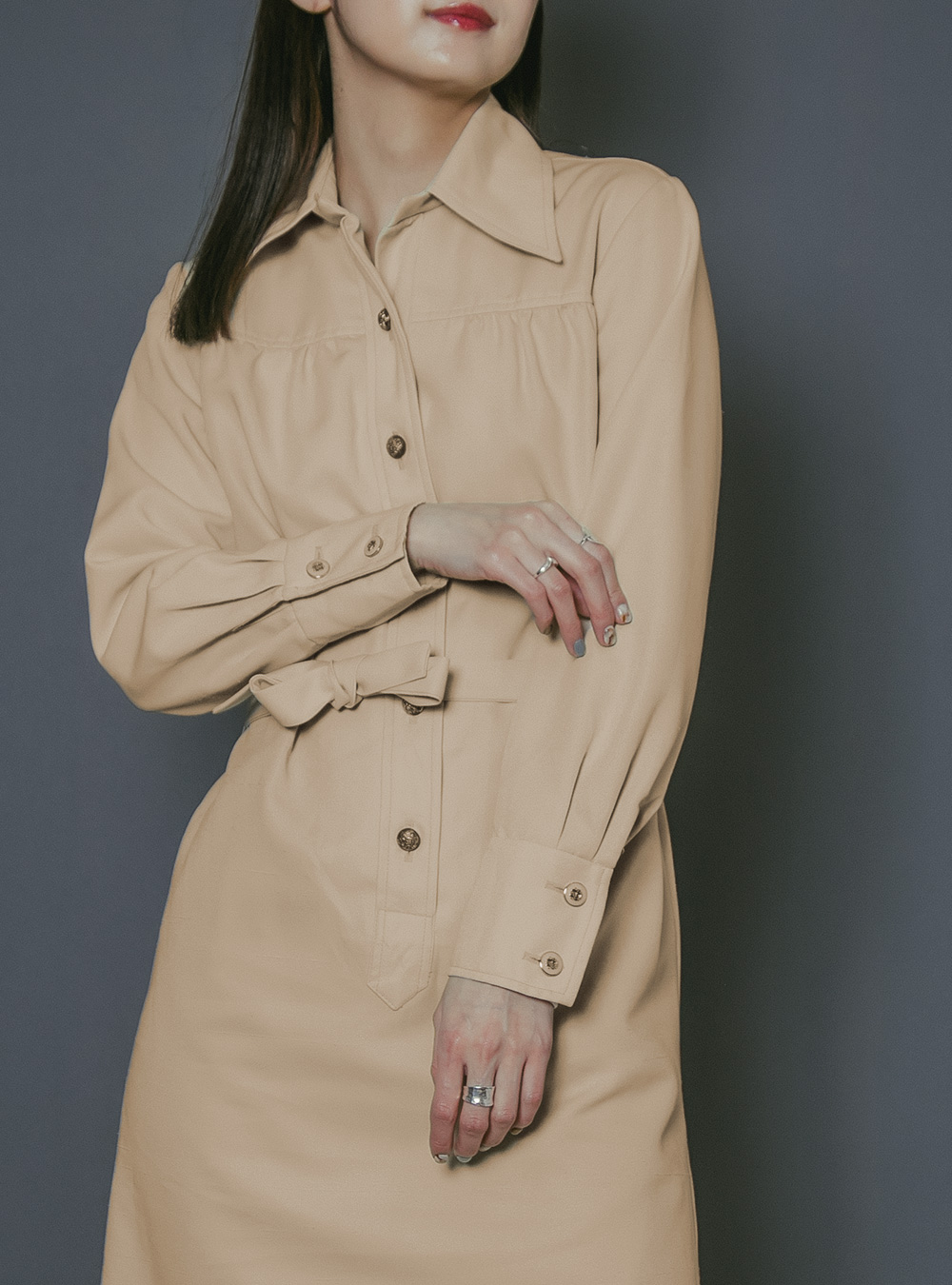 Beige Shirt Design Dress