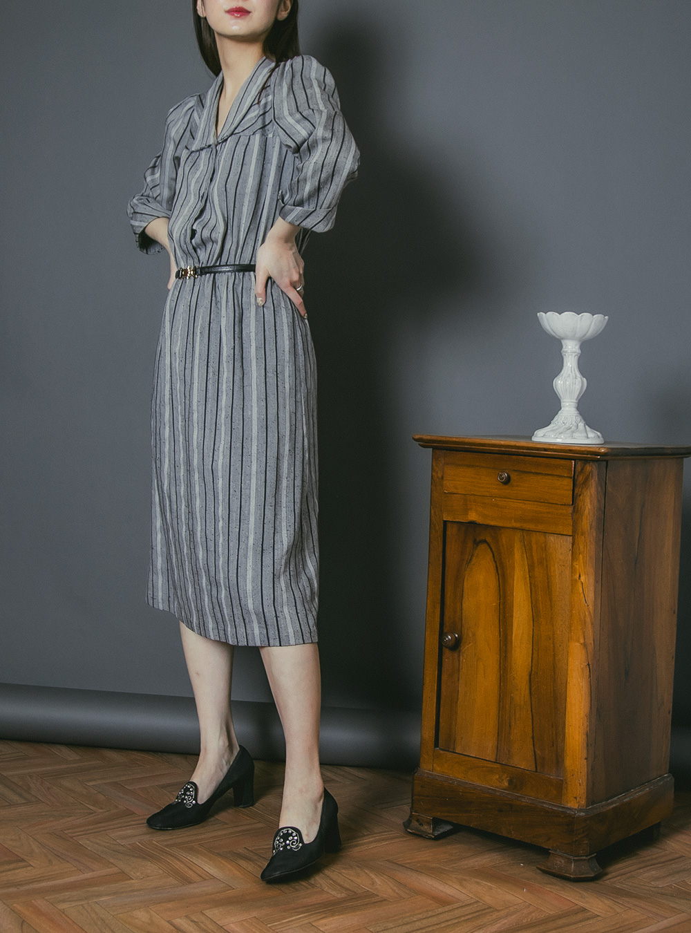 1970's Monotone Stripe Shirt Dress