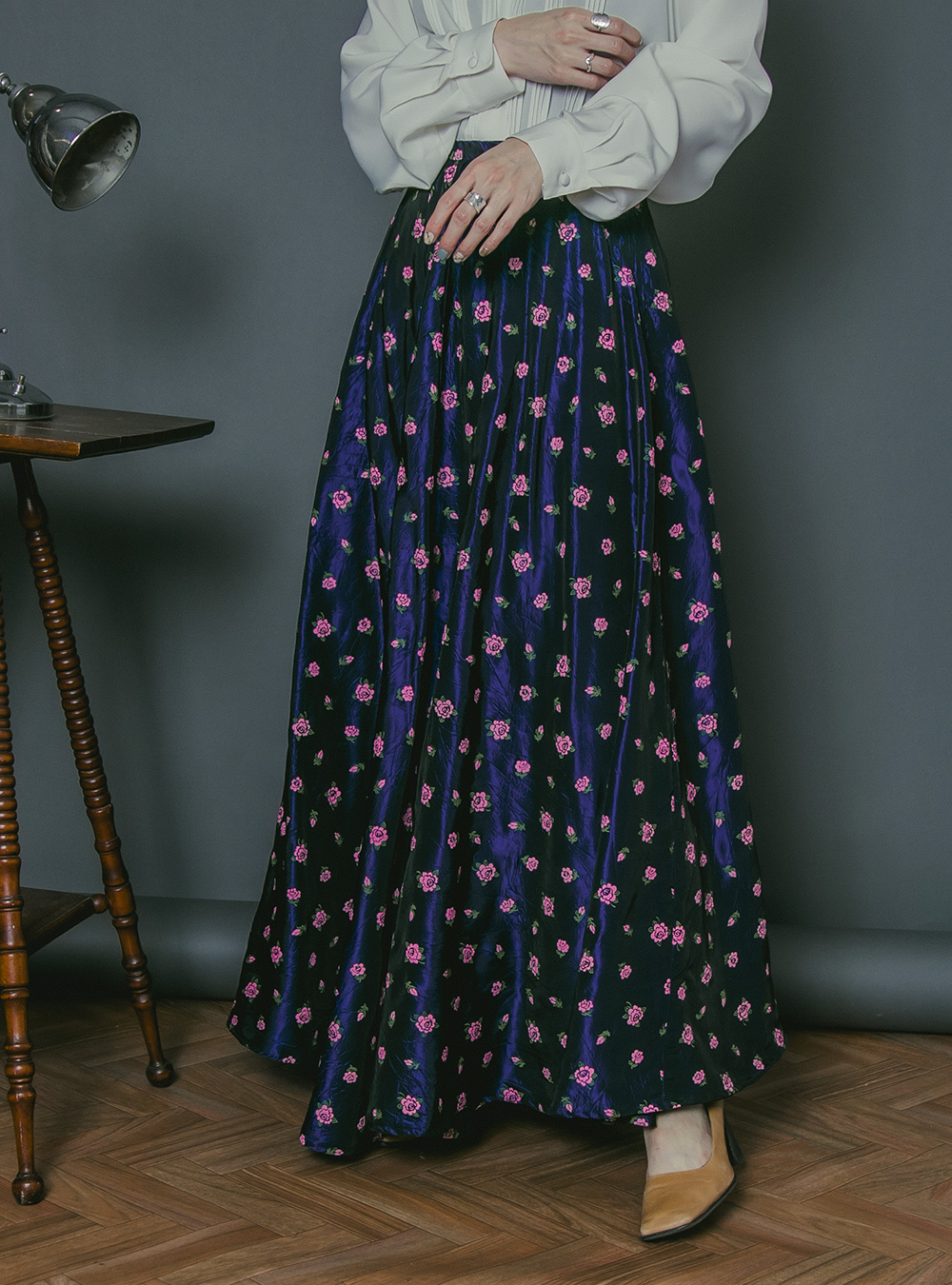 1970's Navy Rose Print Skirt