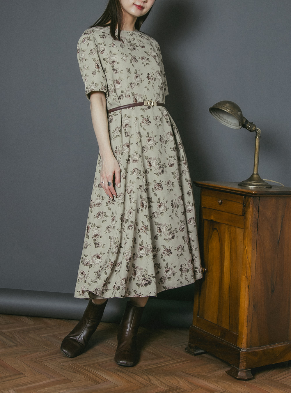 Dusty Green Flower Print Dress