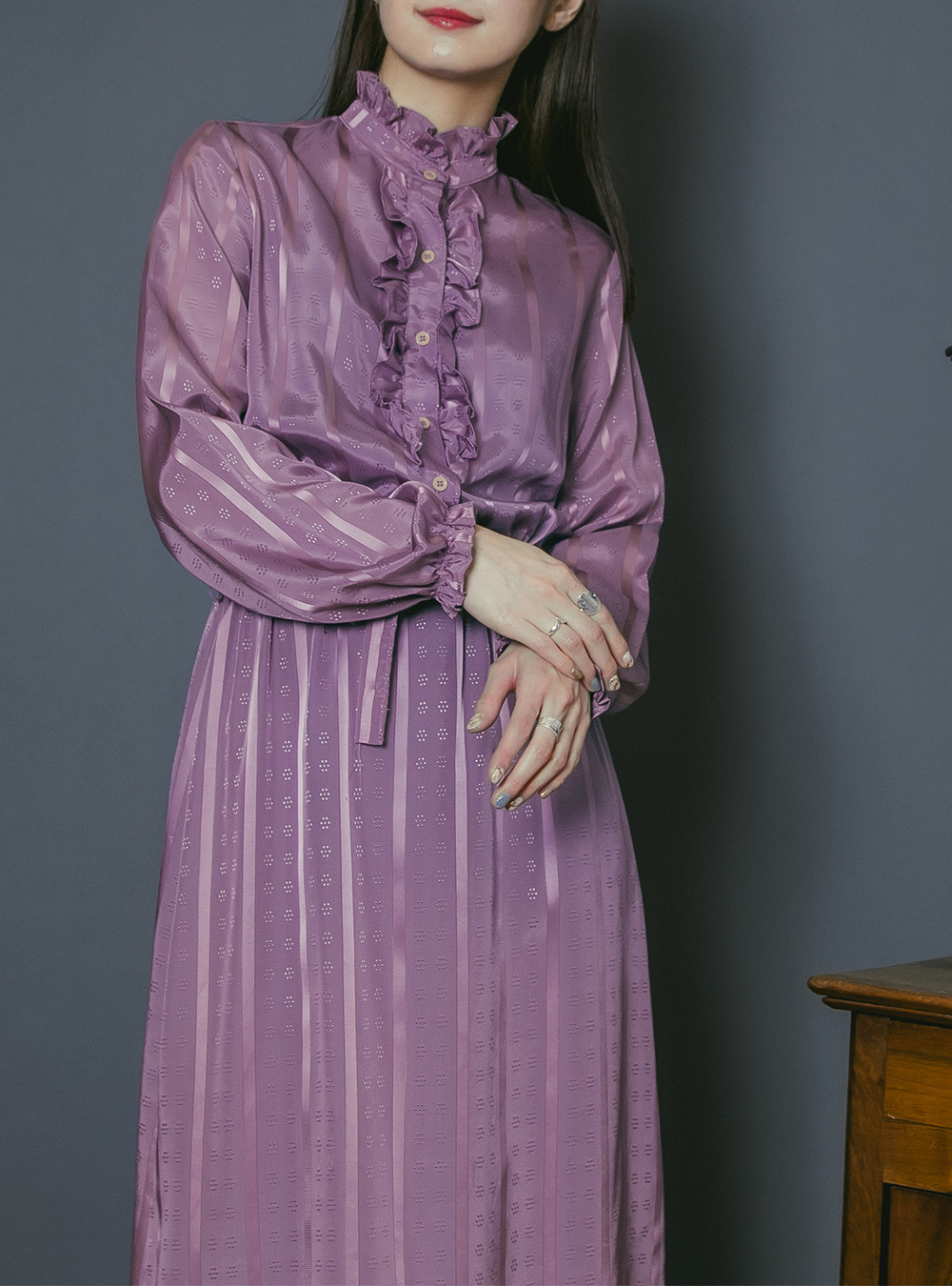 1970's Dusty Purple Frill Design Dress