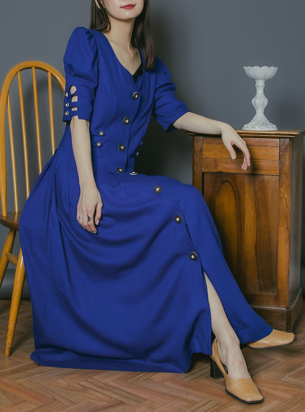 Blue Button Down Tyrol Dress