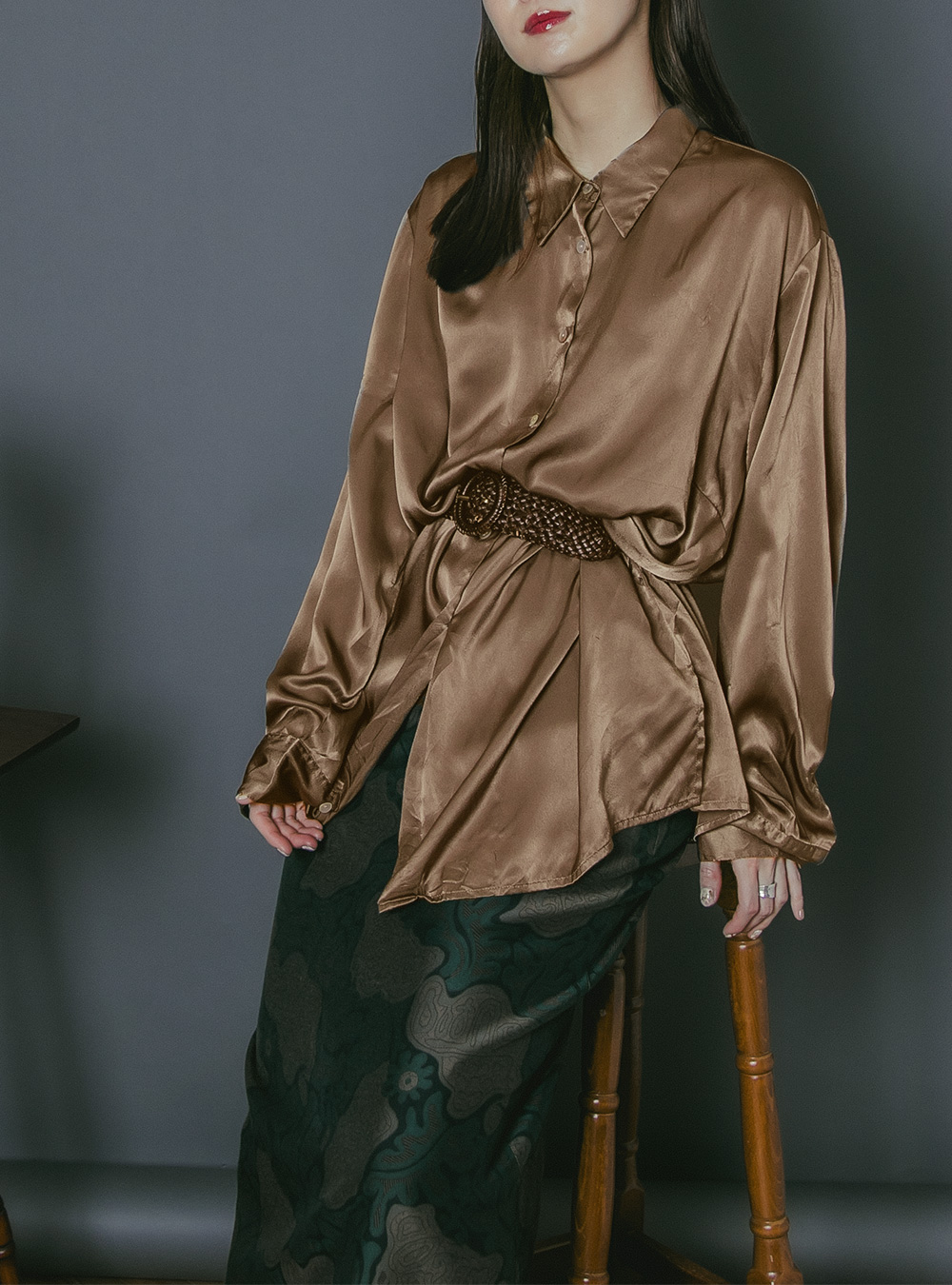 Brown Satin Oversized Blouse