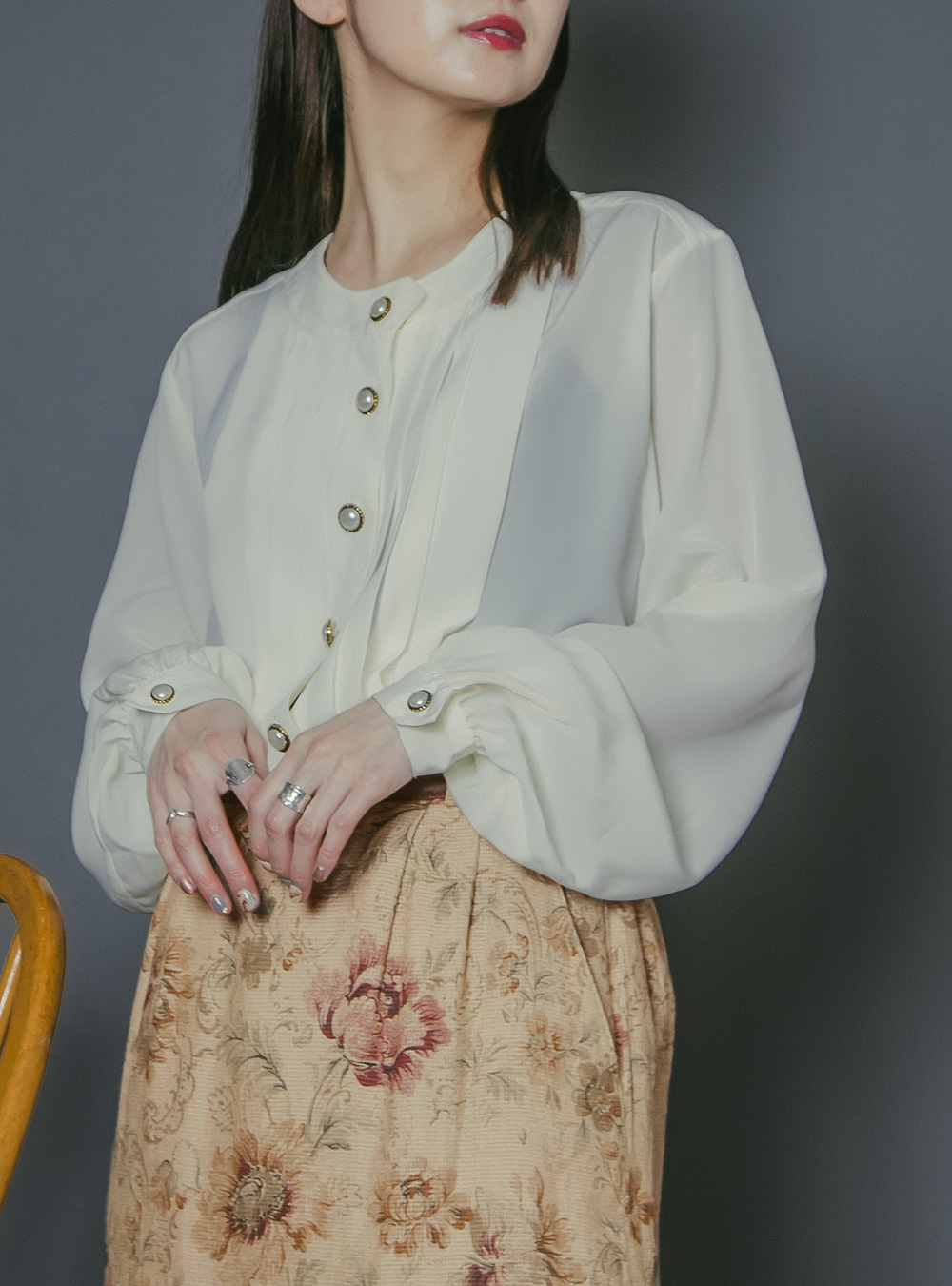 Ivory Pearl Button Tuck Blouse