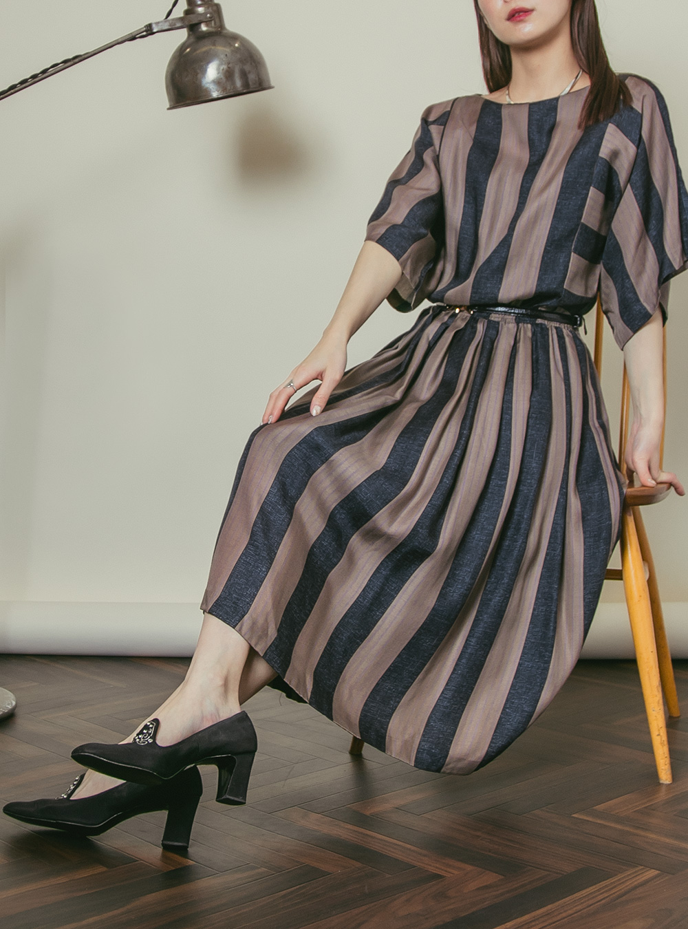 Black × Brown Stripe Design Dress