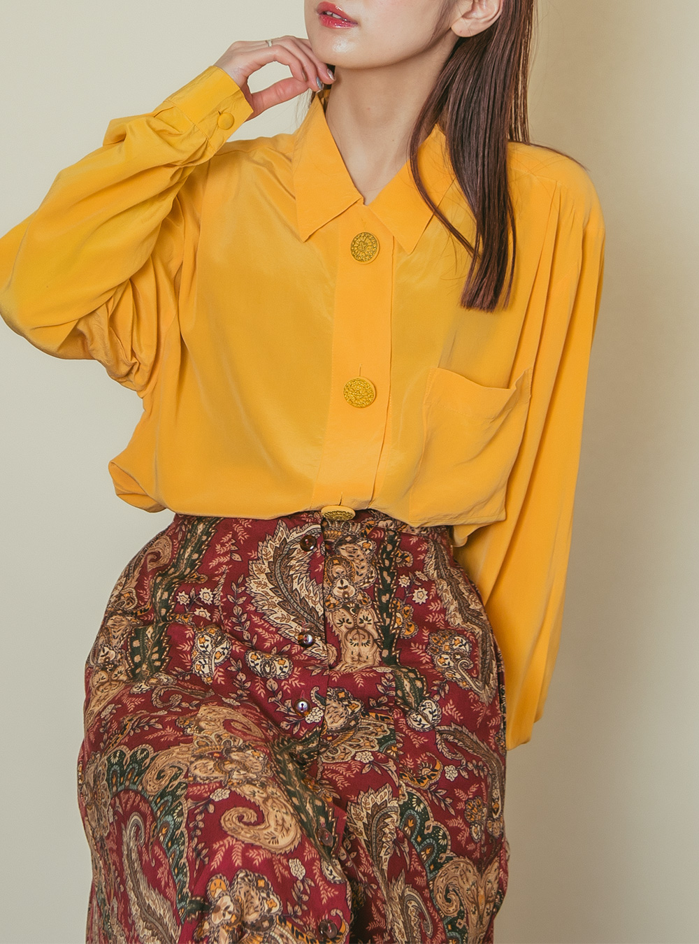 1970's Saffron Yellow Silk Blouse