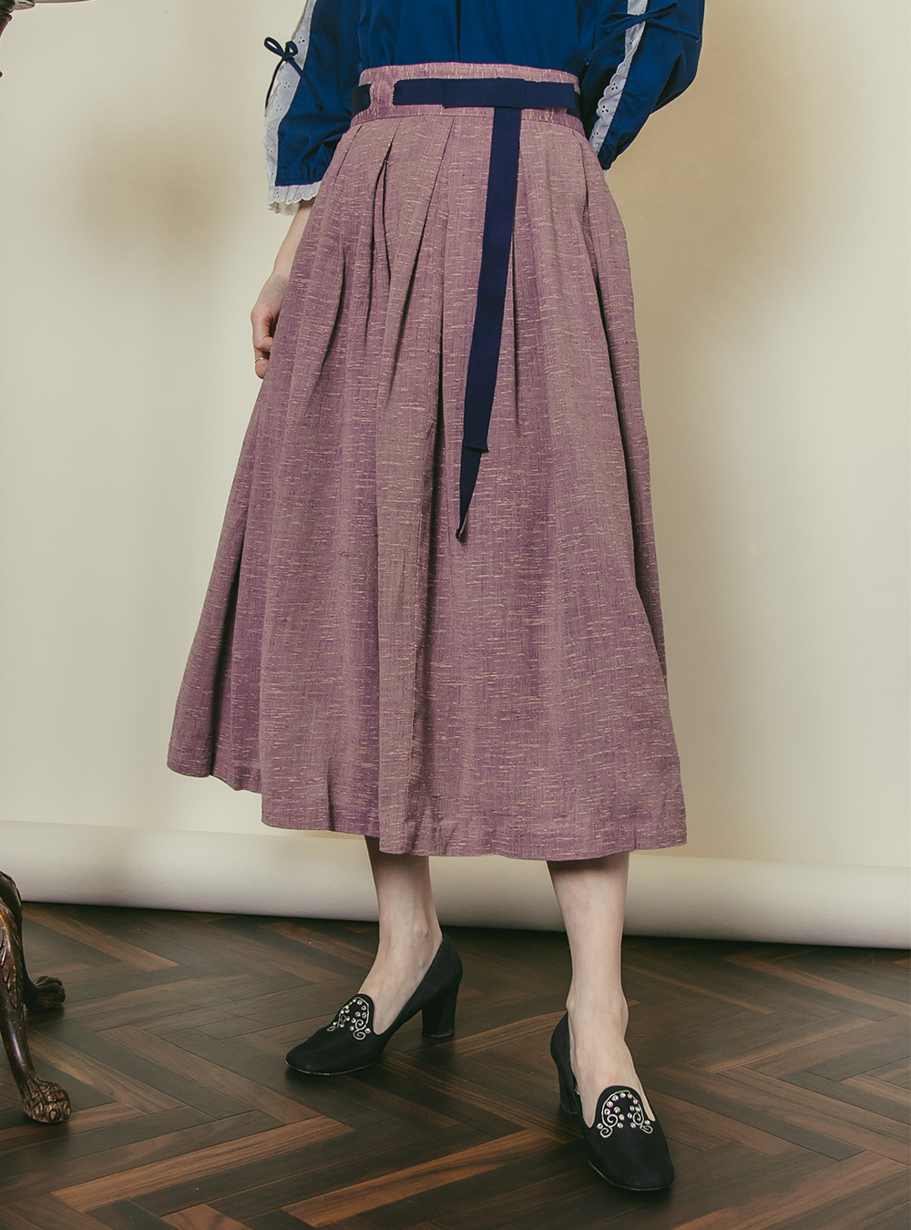 1950's Pink × Navy Ribbon Skirt