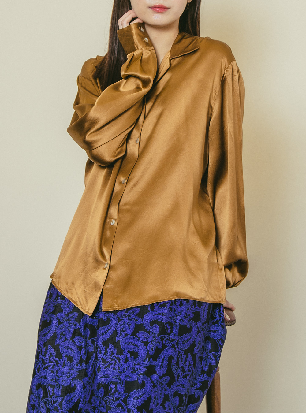 1970's Camel Brown Satin Blouse