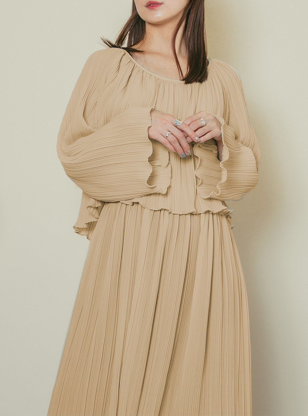 1970's Light Beige Crystal Pleats Dress