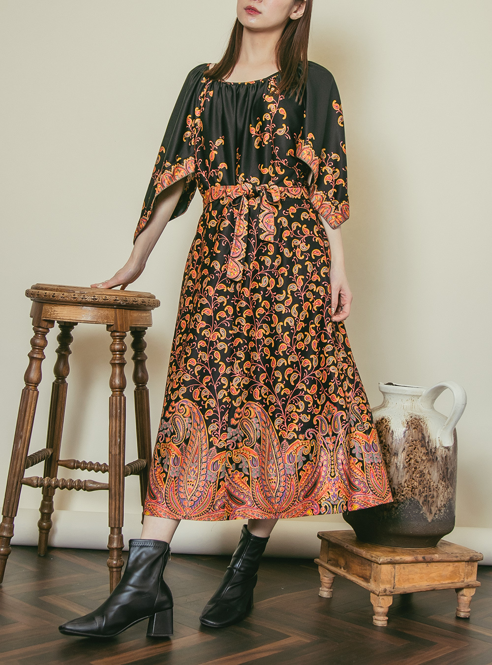 1970's Black Paisley Print Dress