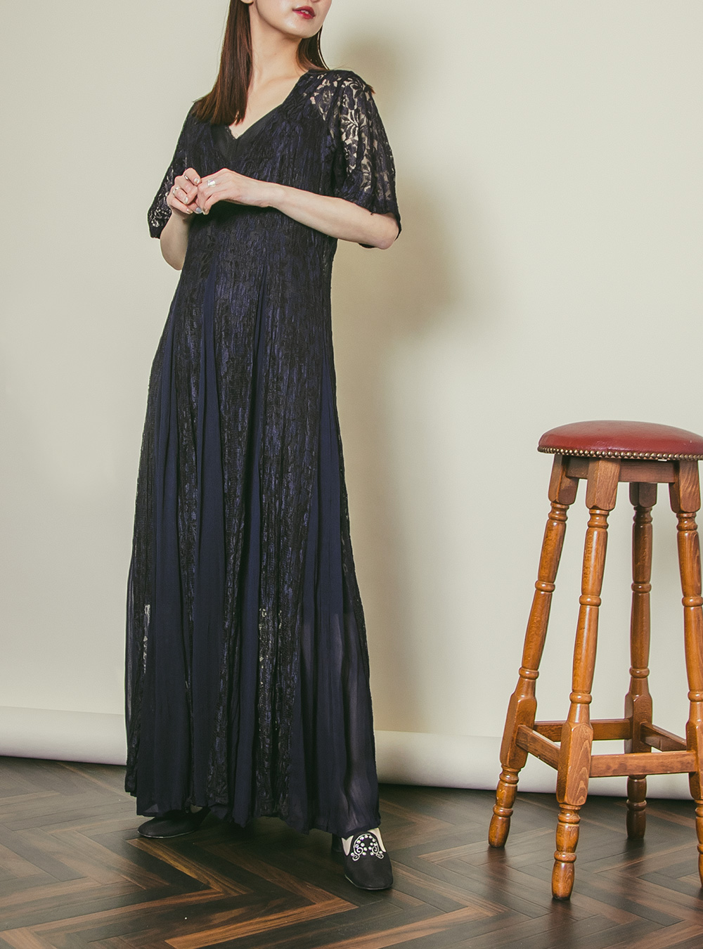 Black × Navy Lace Dress