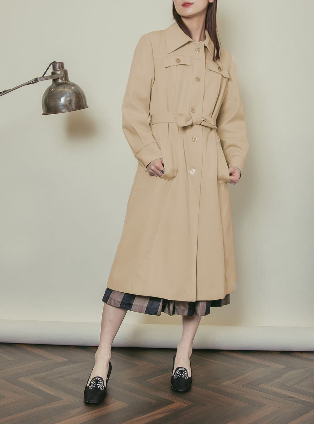1970's Beige Design Spring Coat