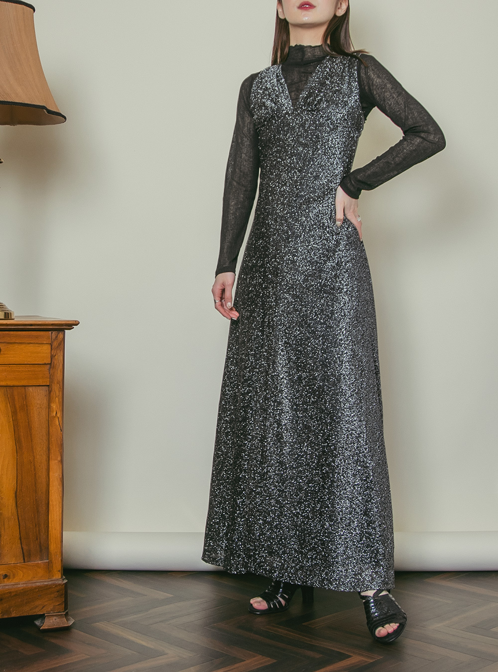 1970's Black Glitter Design Dress