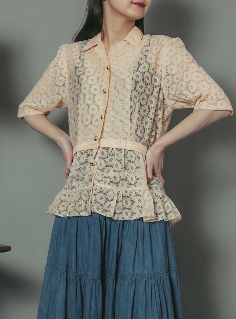 Shell Pink Lace Blouse