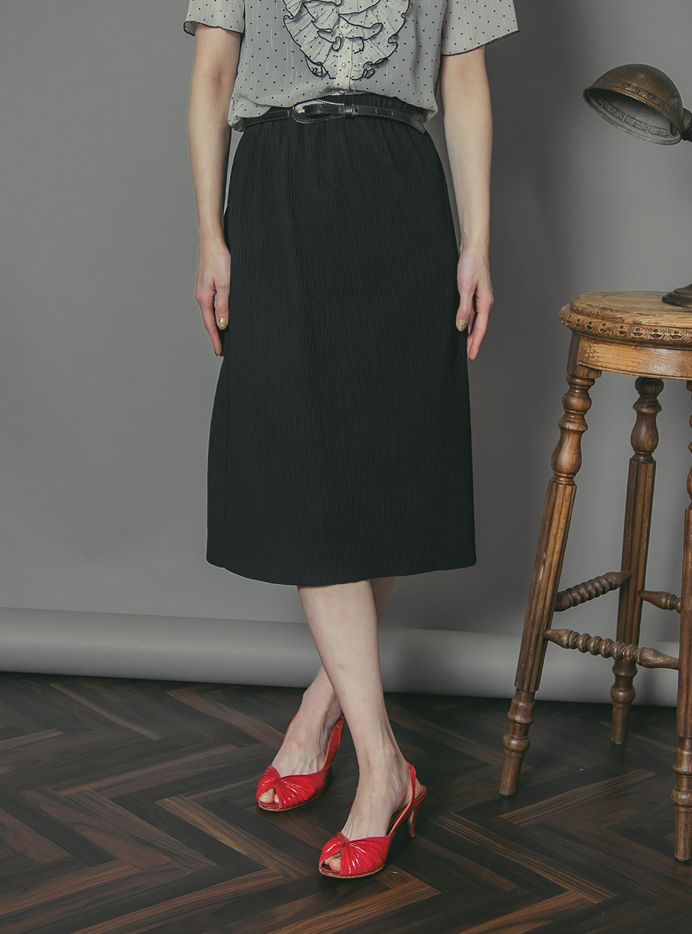 Black Design Textile Skirt