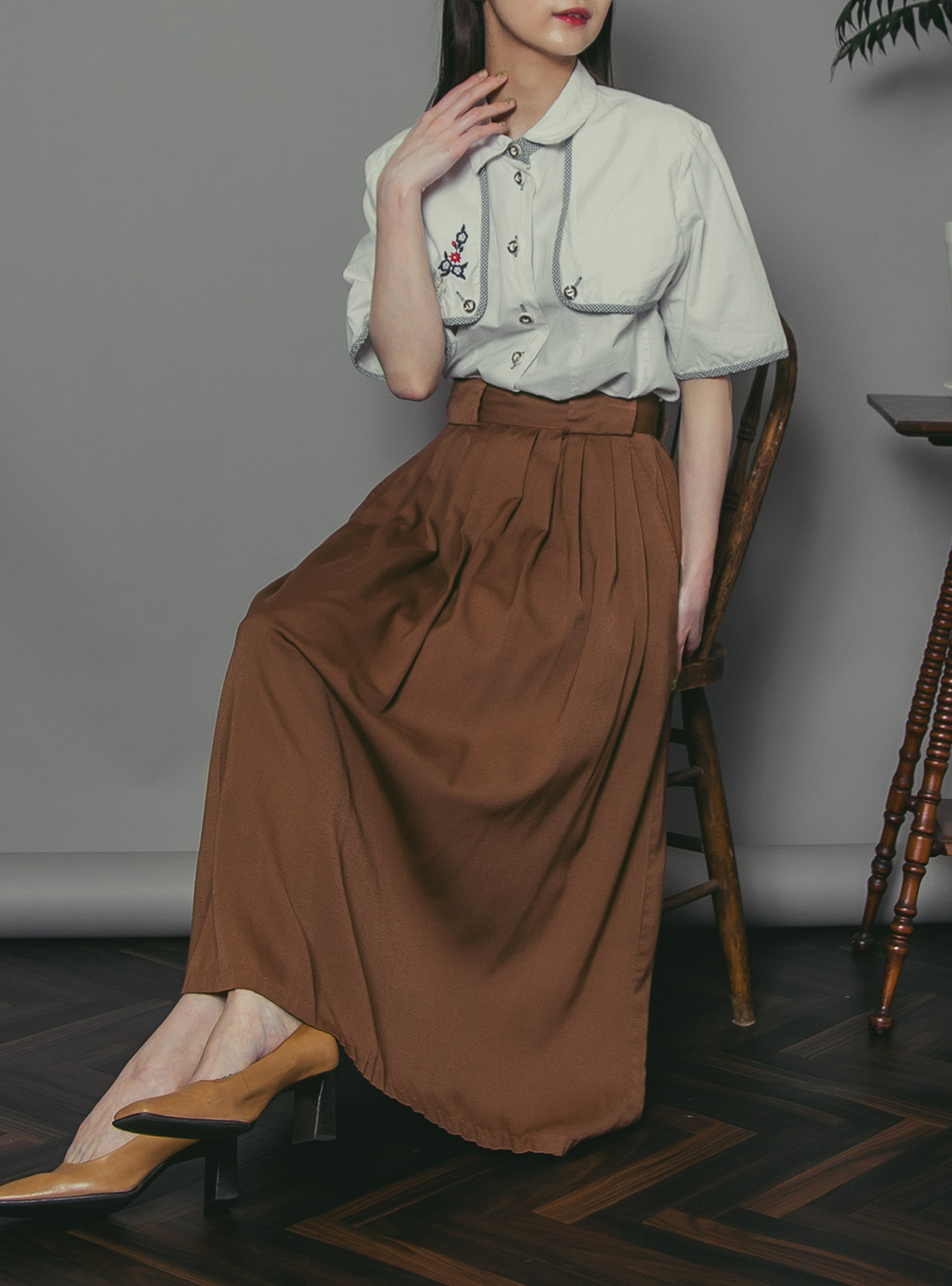 Chocolate Brown Tuck Skirt