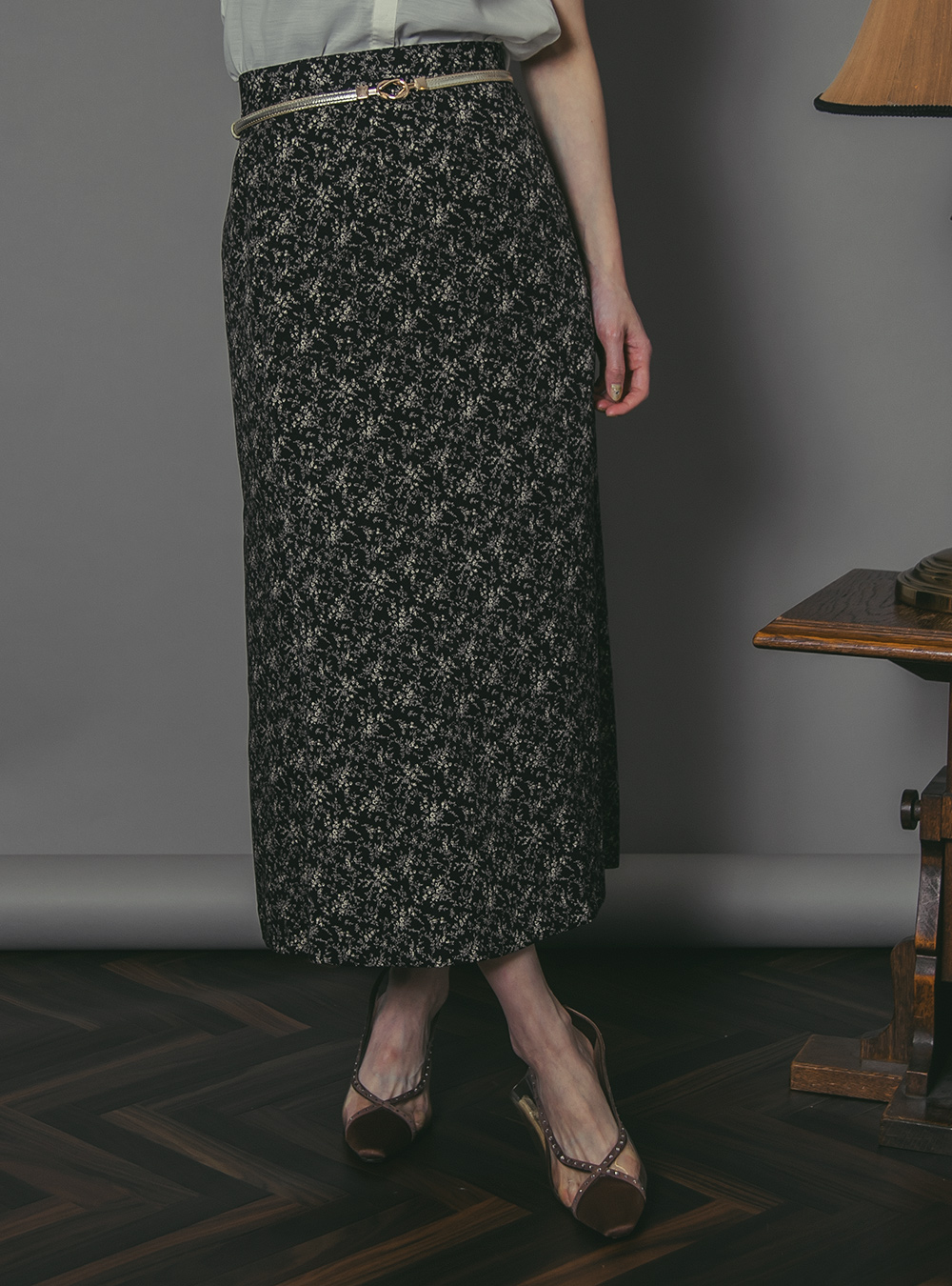 Black Flower Print Skirt