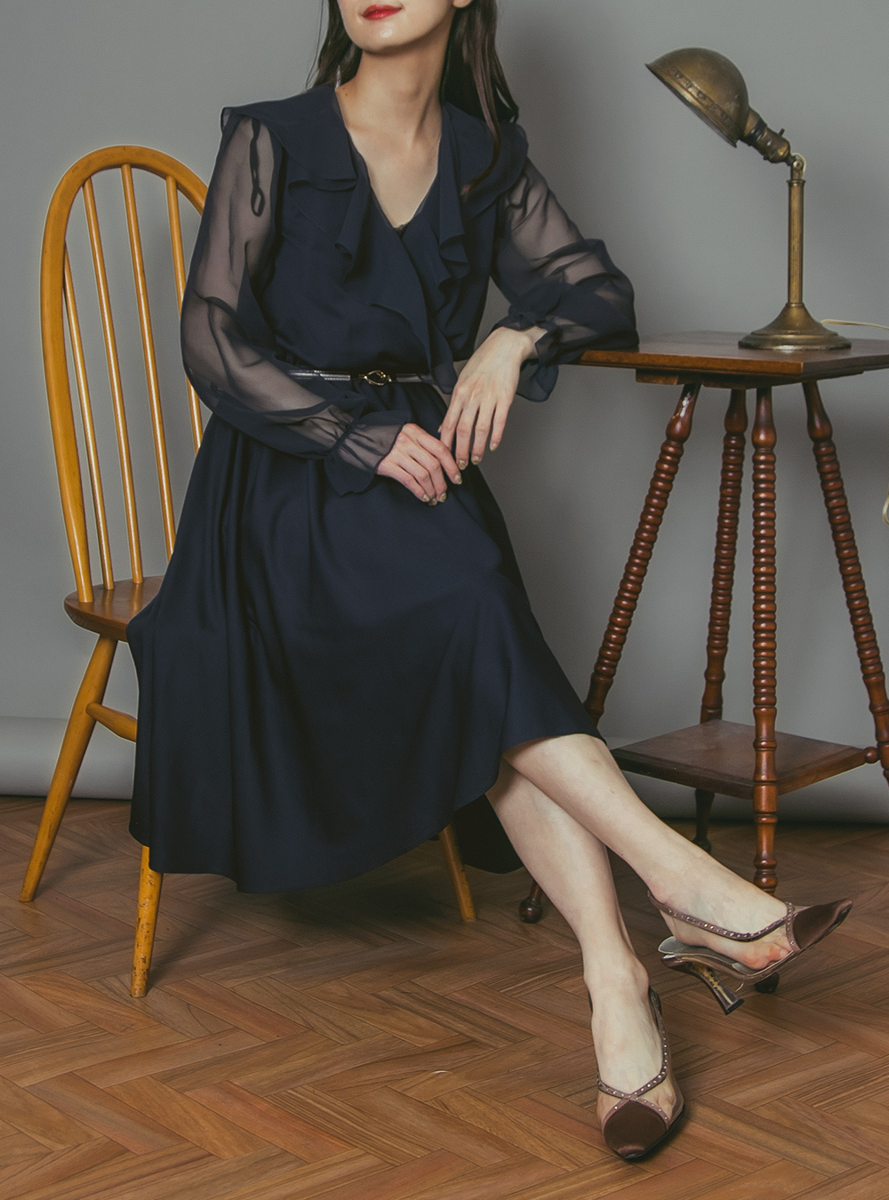 1970's Navy Cache Coeur Frill Dress