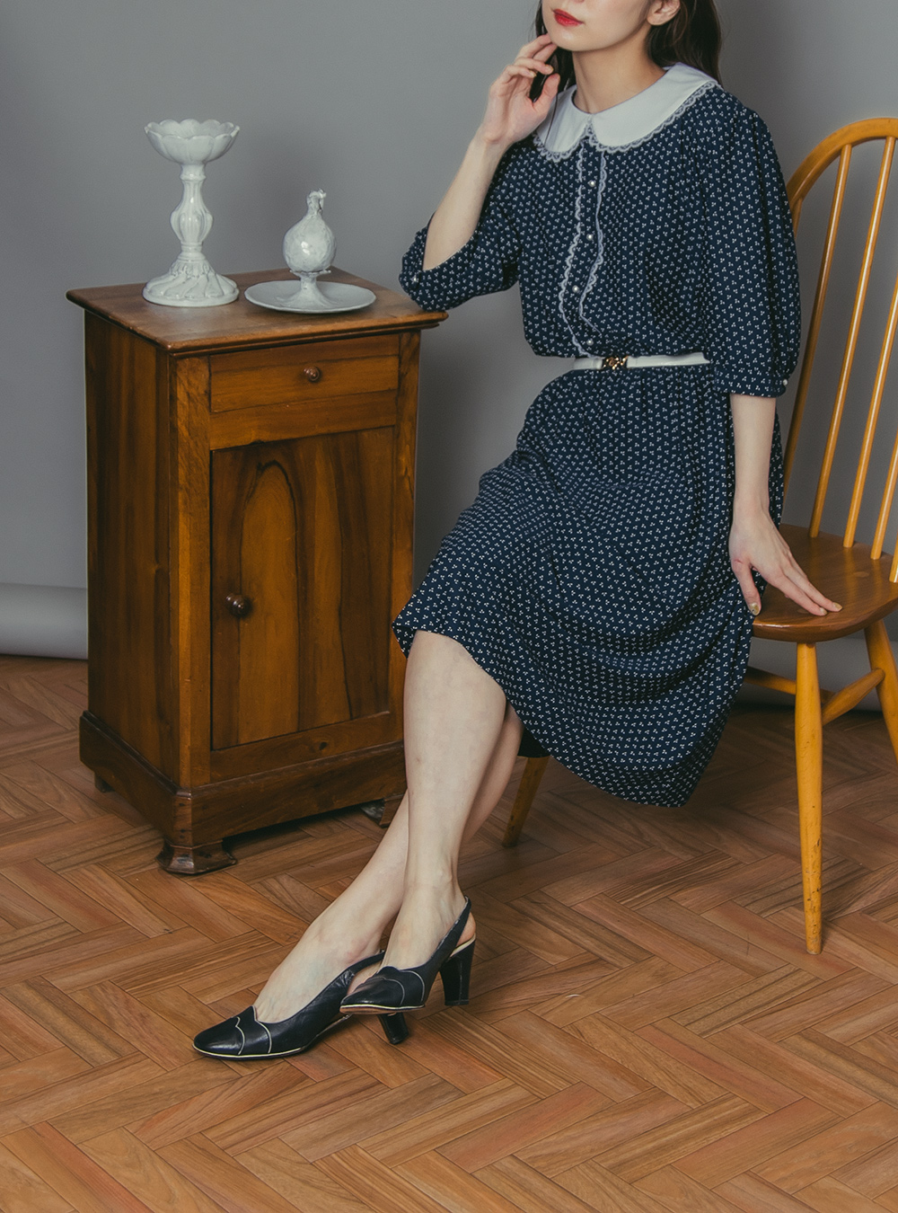 1970's Navy × White Print Lace Collar Dress