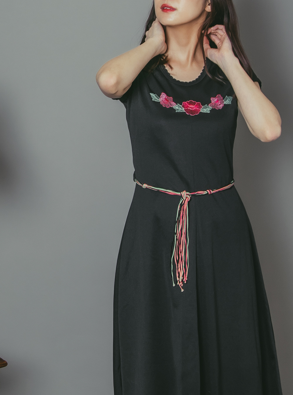 1970's Black Flower Embroidery Dress
