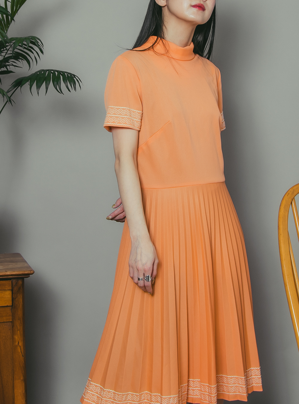 1970's Apricot Orange Embroidery Pleats Dress