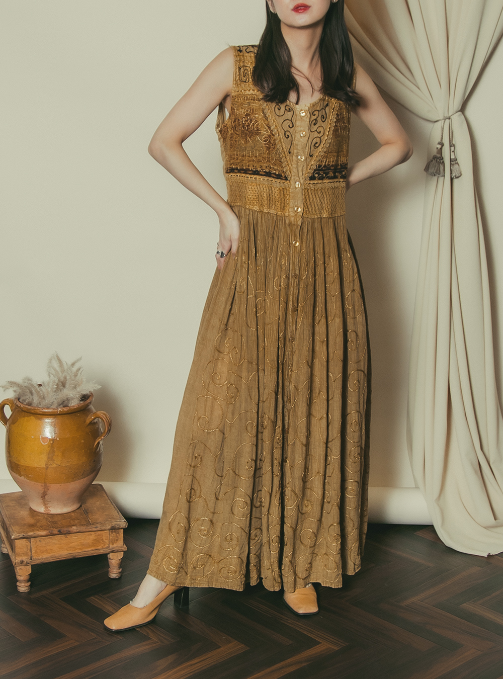 Yellow Ocher Ethnic Embroidery Dress