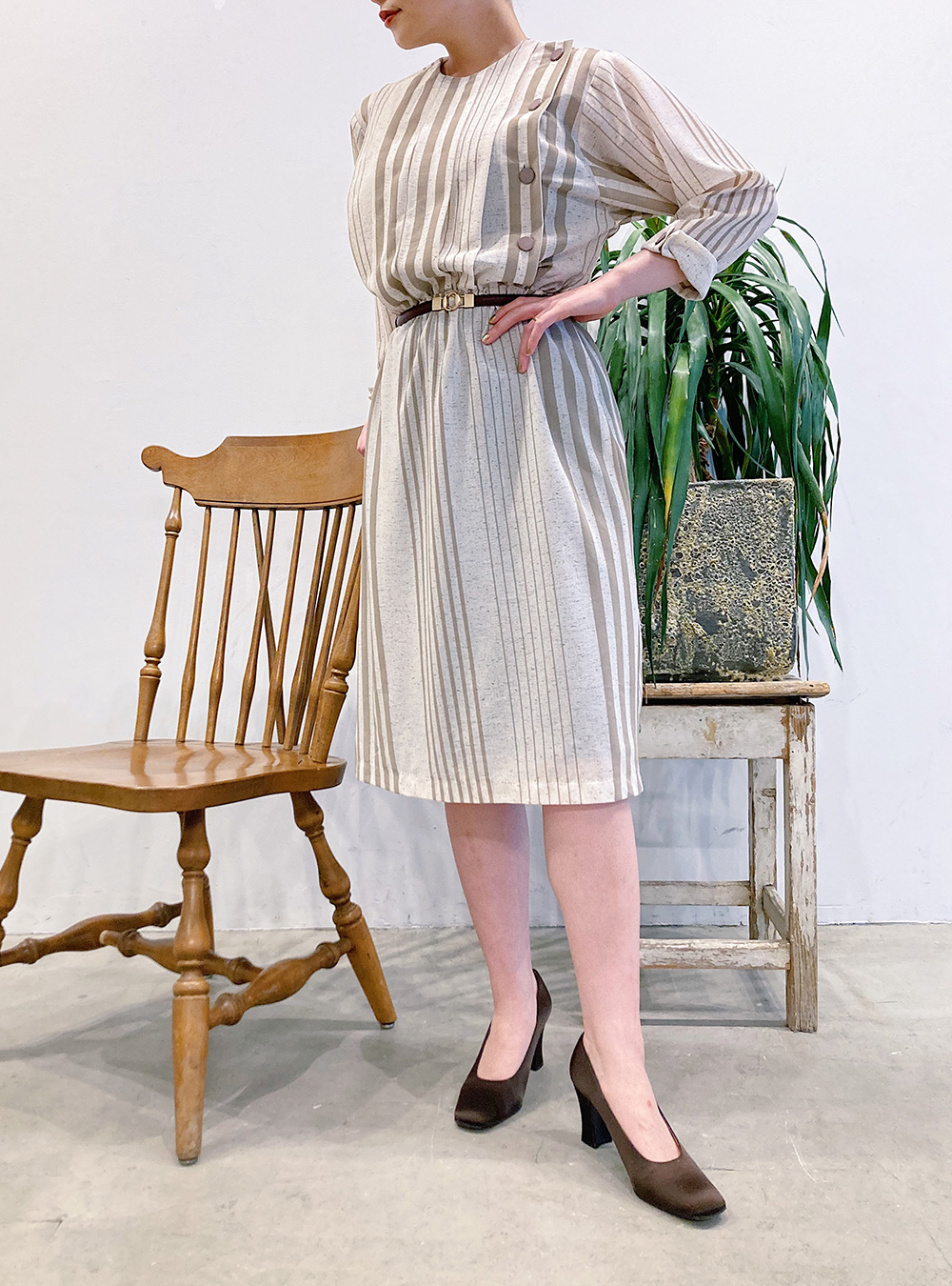 Ivory × Beige Random Stripe Print Dress