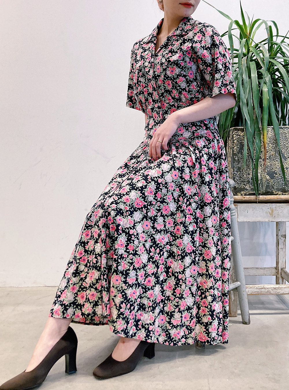 Black × Pink Flower Print Shirt  Dress