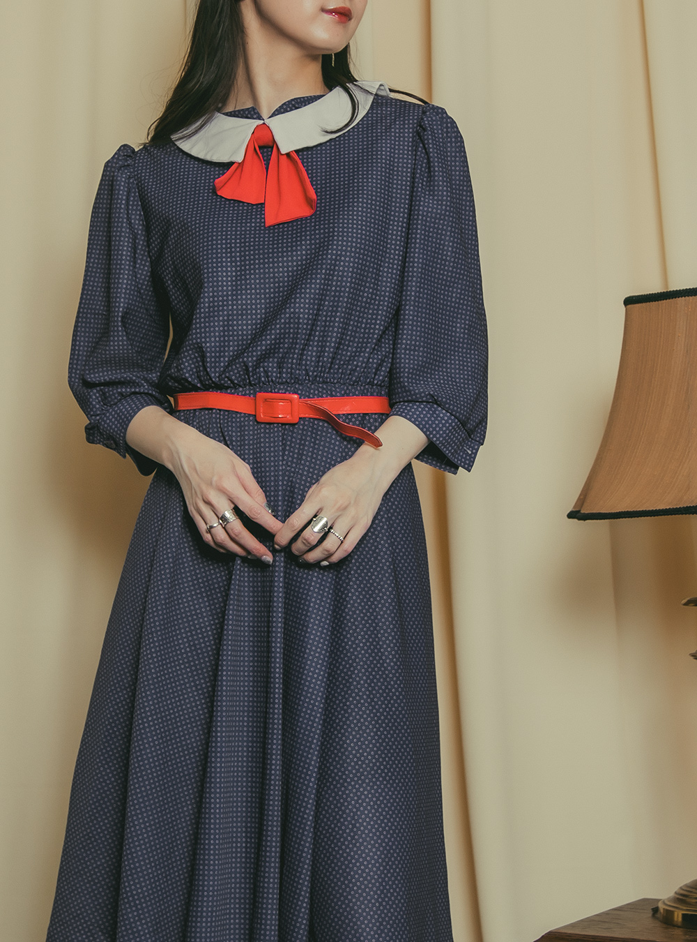 1970's Navy Dot Print Dress