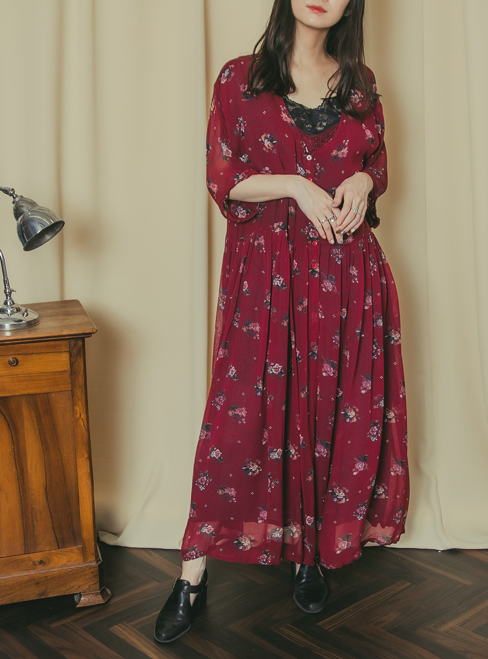 Wine Red Flower Print Chiffon Dress
