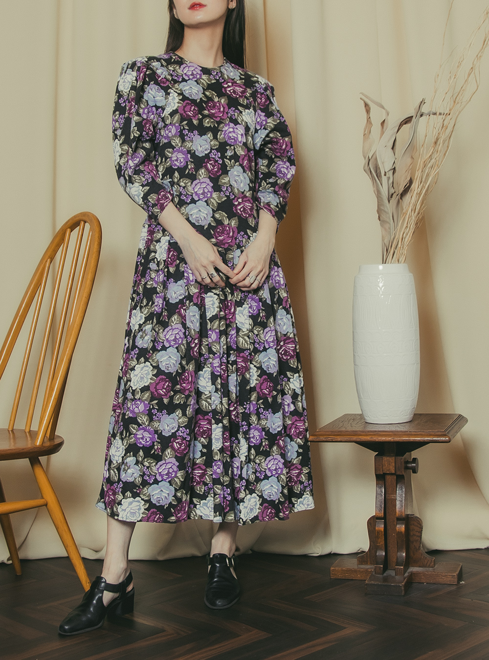 Black × Purple Flower Print Dress