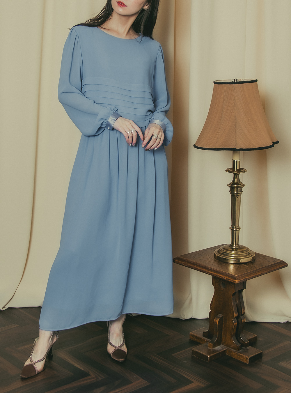1970's Dusty Blue Chiffon Tuck Dress